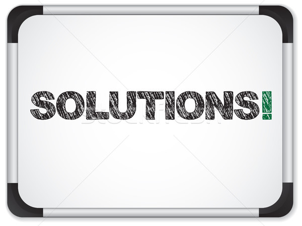 Whiteboard with Solutions Message written in Black Stock photo © gubh83