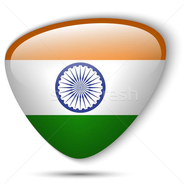 Hint bayrak parlak düğme vektör cam Stok fotoğraf © gubh83