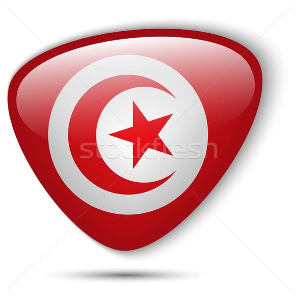 Tunísia bandeira botão vetor vidro Foto stock © gubh83