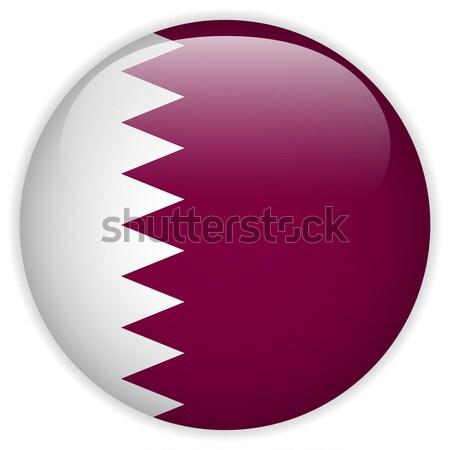 Katar banderą przycisk ikona nowoczesne wektora Zdjęcia stock © gubh83