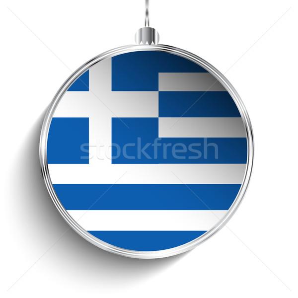 Wesoły christmas srebrny piłka banderą Grecja Zdjęcia stock © gubh83