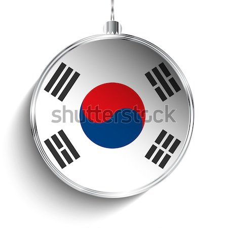 Alegre natal prata bola bandeira Coréia do Sul Foto stock © gubh83
