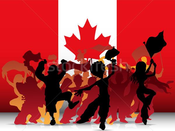 Kanada spor fan kalabalık bayrak vektör Stok fotoğraf © gubh83