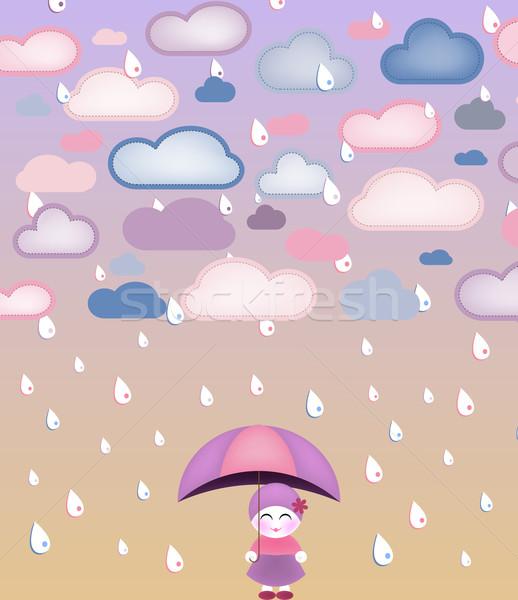 Aranyos lány esernyő eső vektor kép Stock fotó © gubh83