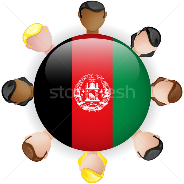 Afghanistan Flag Button Teamwork People Group Stock photo © gubh83