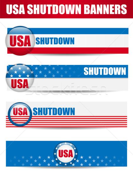 Foto stock: Governo · EUA · fechado · banners · vetor · fundo