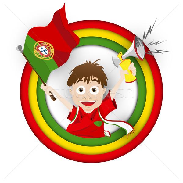 Foto stock: Portugal · fútbol · ventilador · bandera · Cartoon · vector