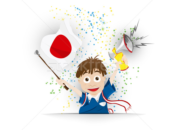 Japan Soccer Fan Flag Cartoon Stock photo © gubh83