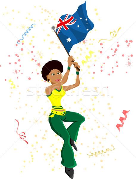 Zwarte meisje Australië voetbal fan vlag Stockfoto © gubh83