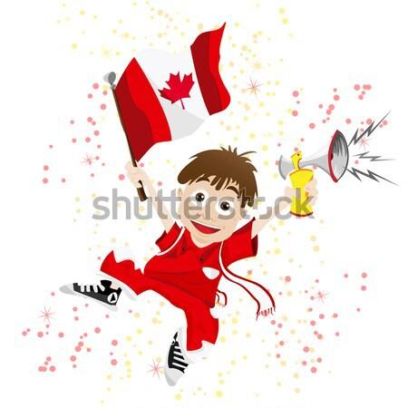 Zwarte meisje Canada voetbal fan vlag Stockfoto © gubh83