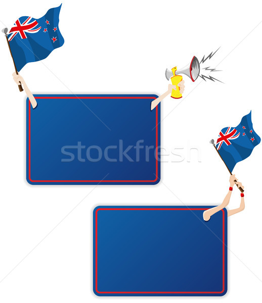 New Zealand Sport Message Frame with Flag. Set of Two Stock photo © gubh83