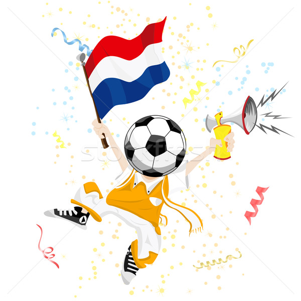 Dutch Soccer Fan with Ball Head Stock photo © gubh83