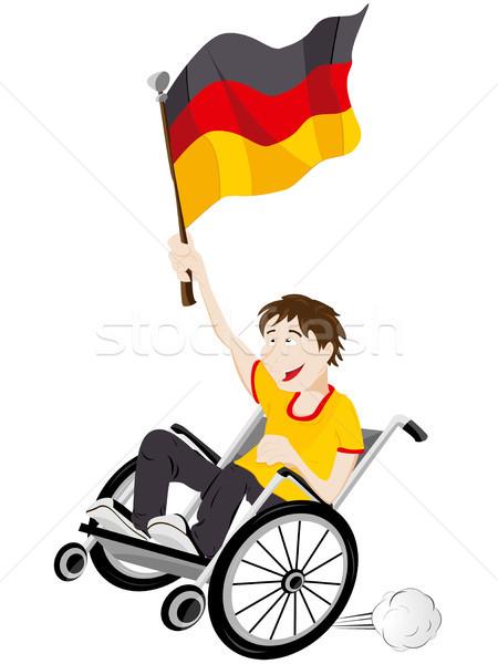 Deutschland Sport Fan Anhänger Rollstuhl Flagge Stock foto © gubh83