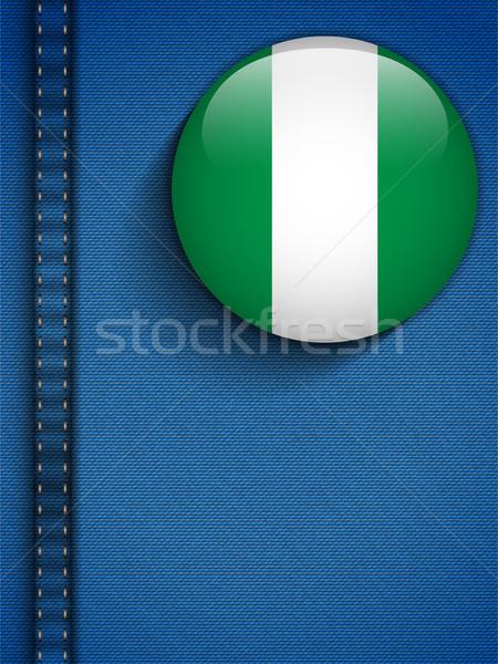 Nigéria bandeira botão jeans bolso vetor Foto stock © gubh83