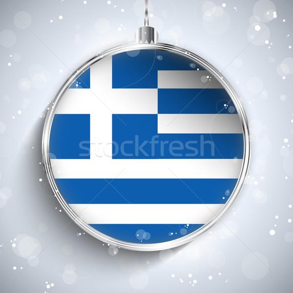 Foto stock: Alegre · Navidad · plata · pelota · bandera · Grecia