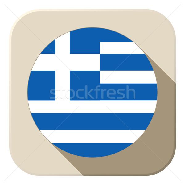 Grécia bandeira botão ícone moderno vetor Foto stock © gubh83