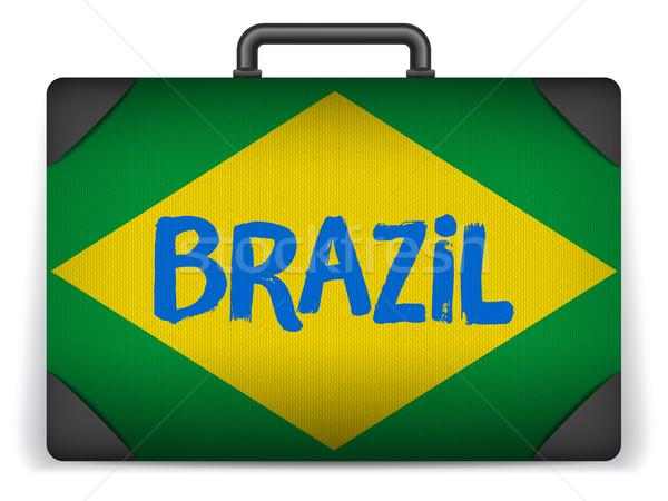 Brazilië reizen bagage vlag vakantie vector Stockfoto © gubh83