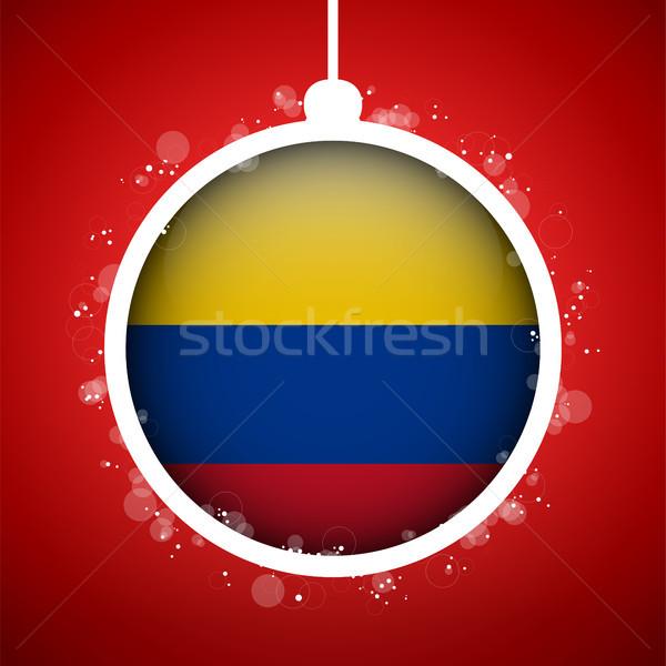Alegre natal vermelho bola bandeira Colômbia Foto stock © gubh83