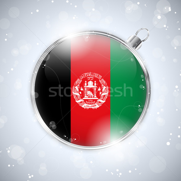 Merry Christmas Silver Ball with Flag Afghanistan Stock photo © gubh83