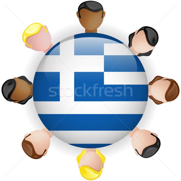 Grecja banderą przycisk zespołowej ludzi grupy Zdjęcia stock © gubh83