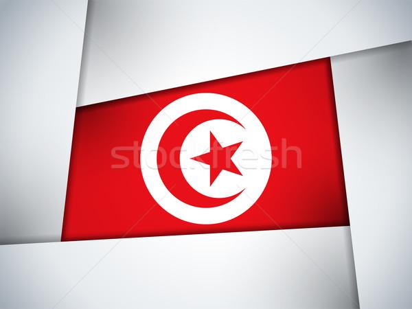 Tunus ülke bayrak geometrik vektör iş Stok fotoğraf © gubh83