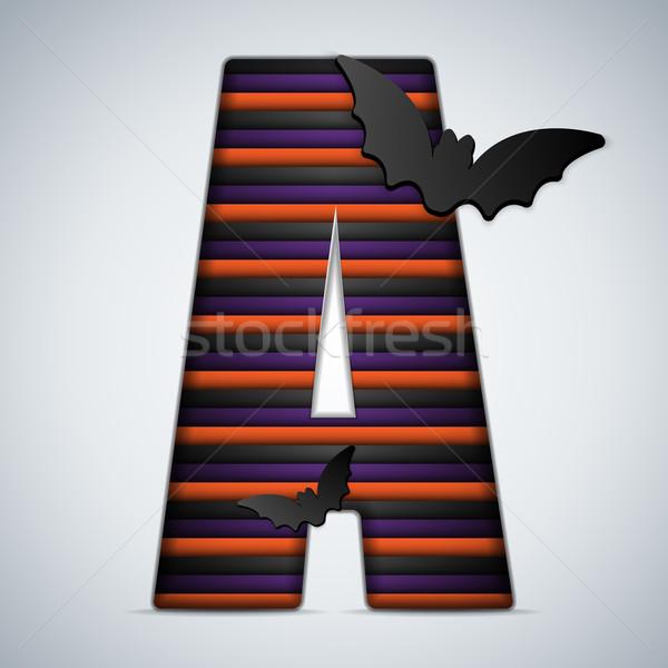 Stockfoto: Halloween · bat · alfabet · brieven · streep · zwarte