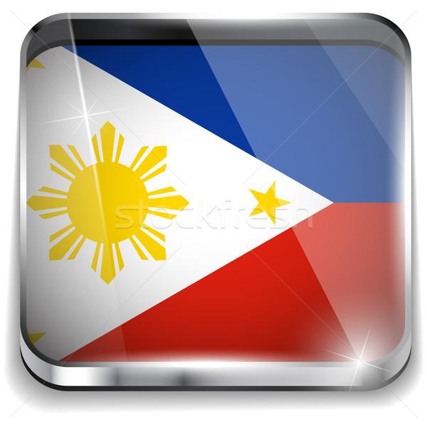 フィリピン フラグ スマートフォン アプリケーション 広場 ボタン ストックフォト © gubh83