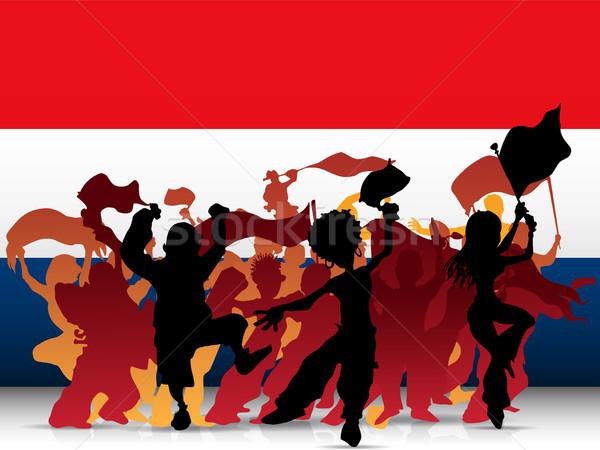 Foto stock: Holanda · esportes · ventilador · multidão · bandeira · vetor