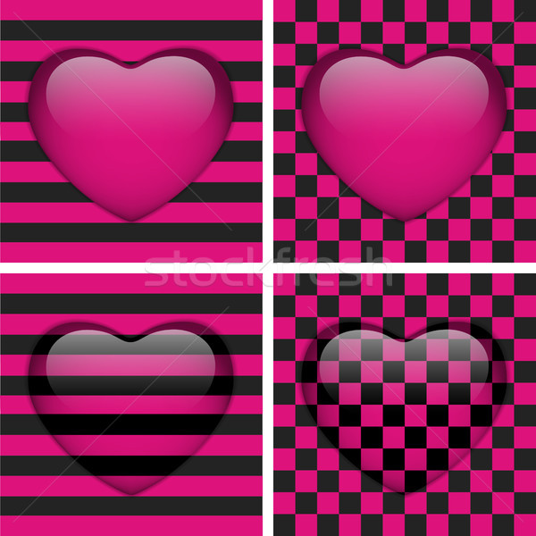 Set of Four Glossy Emo Hearts. Pink and Black Chess and Stripes Stock photo © gubh83