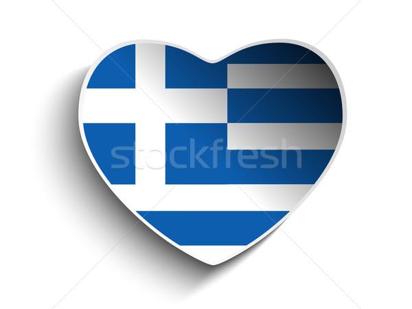 Stock fotó: Görögország · zászló · szív · papír · matrica · vektor