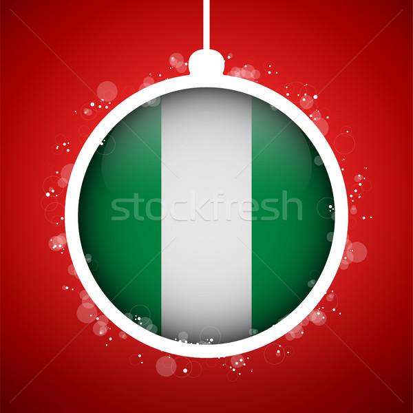 Neşeli Noel kırmızı top bayrak Nijerya Stok fotoğraf © gubh83
