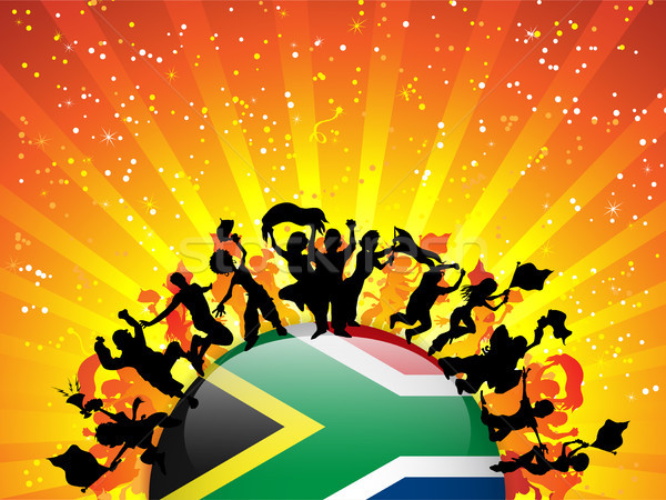 South Africa Sport Fan Crowd with Flag Stock photo © gubh83