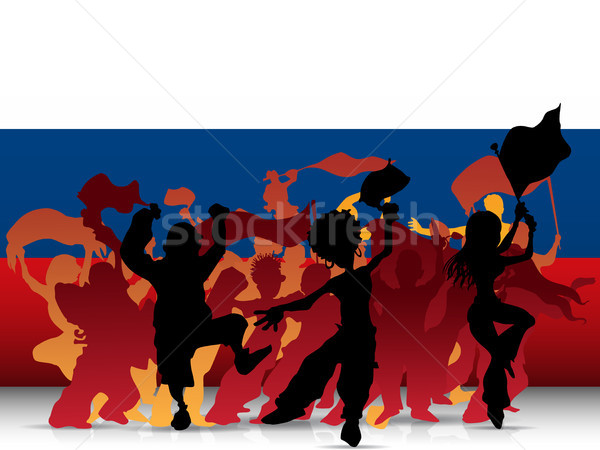 Russia Sport Fan Crowd with Flag Stock photo © gubh83