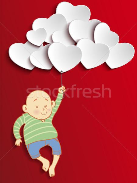 Valentin nap szív fiú tart léggömbök vektor Stock fotó © gubh83
