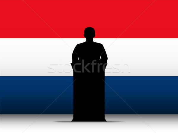 Hollandia beszéd sziluett zászló vektor férfi Stock fotó © gubh83