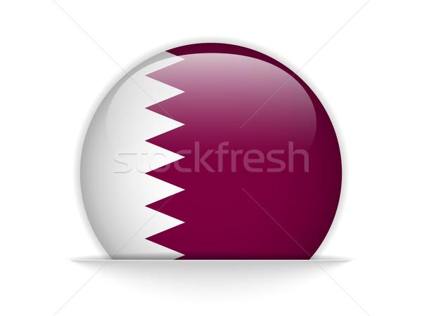 Catar bandeira botão vetor vidro Foto stock © gubh83