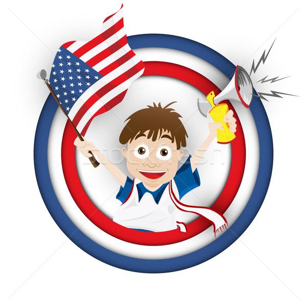 EUA futebol ventilador bandeira desenho animado vetor Foto stock © gubh83