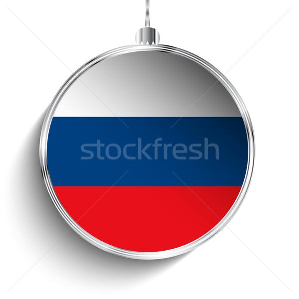 Alegre natal prata bola bandeira Rússia Foto stock © gubh83