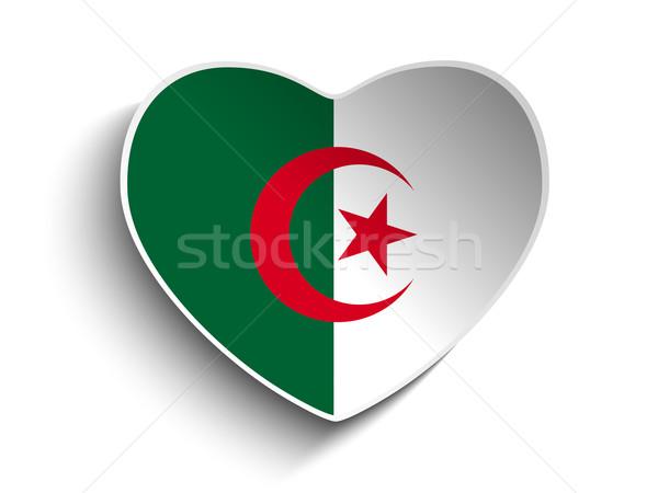 Algérie pavillon coeur papier vignette vecteur Photo stock © gubh83