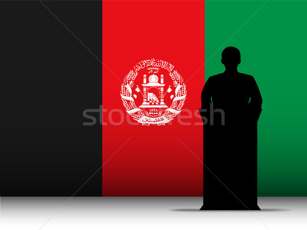 Afghanistan Speech Tribune Silhouette with Flag Background Stock photo © gubh83