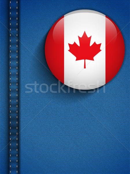 Foto stock: Canadá · bandeira · botão · jeans · bolso · vetor