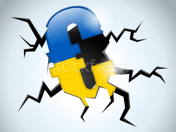 Euro geld crisis Oekraïne vlag spleet Stockfoto © gubh83