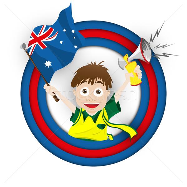 Ausztrália futball ventillátor zászló rajz vektor Stock fotó © gubh83