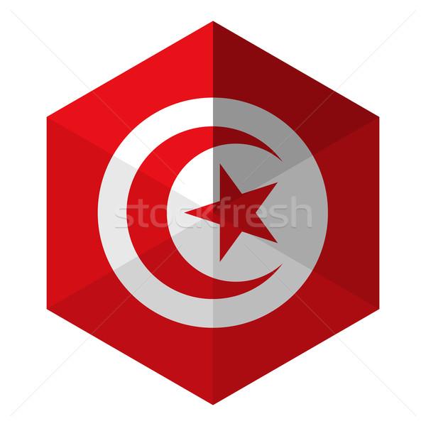 Tunisia Flag Hexagon Flat Icon Button Stock photo © gubh83