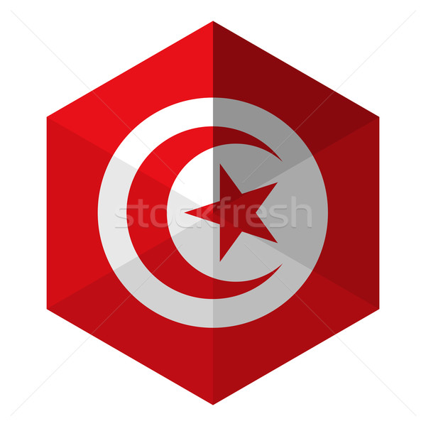 Тунис флаг шестиугольник икона кнопки Мир Сток-фото © gubh83