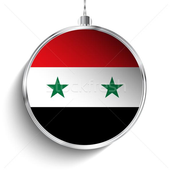 Wesoły christmas srebrny piłka banderą Syria Zdjęcia stock © gubh83