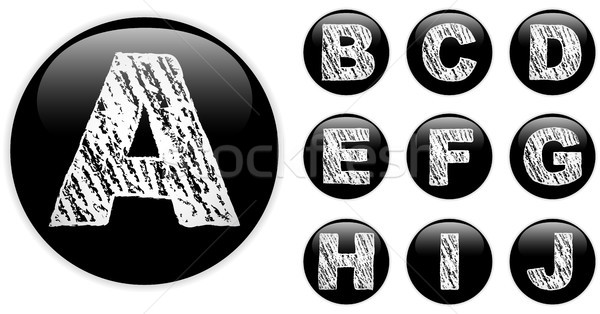 Alphabet Chalk Letters in shiny Black Buttons Stock photo © gubh83