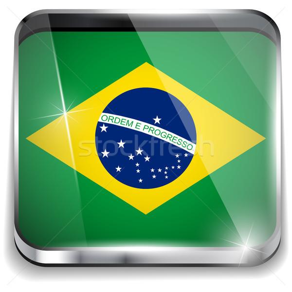 Brezilya bayrak uygulama kare düğmeler Stok fotoğraf © gubh83