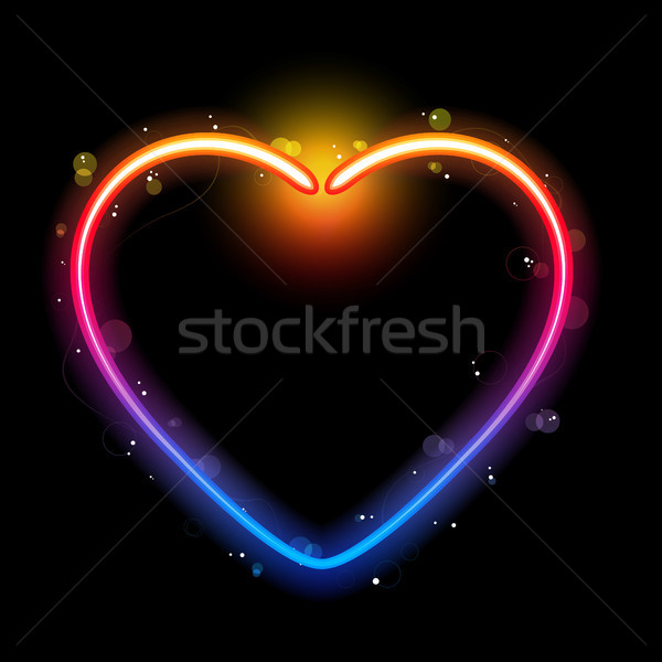 Photo stock: Rainbow · coeur · frontière · tourbillons · lumière