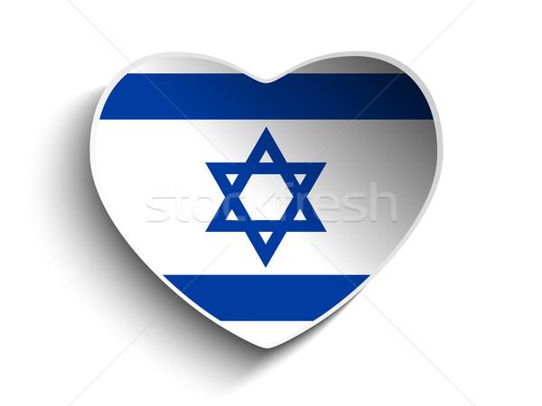 Israël vlag hart papier sticker vector Stockfoto © gubh83
